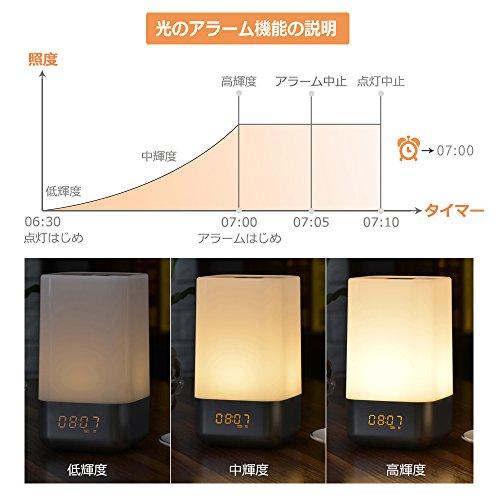 【光+音!目覚まし時計】YABAE Wake Up Light 光療法 自然音 アラーム ベッドサイドランプ タッチセンサー 3段階調光 おしゃれ led 時計 テーブルライト 北欧 usb充電 寝室 室内用 MY-3