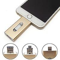 eMart iPhoneのUSBフラッシュドライブ 128 GB OTG フラッシュメモリスティックペンドライブコンピュータ、iPhone&iPadやAndroidの携帯電話のための (128GB, ゴールド)