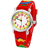Eleoption Waterproof Kids Watches for Kid Girls Boys Toddlers Watch 3D Cute Cartoon Silicone Wristwatches Time Teacher Little Kids Boys Girls Children Birthday Gift (Jurassic Dinosaurs-Red)