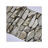 防水ヴィンテージ3Dストーン影響壁紙ロール現代の素朴な現実的なフェイクストーンテクスチャビニールポリ塩化ビニールの壁紙インテリア・Wp54004スレートグレー、10Mx53Cm