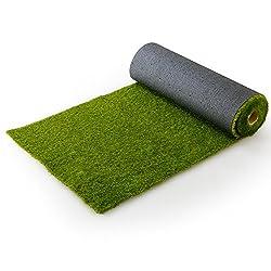芝生 人工芝 4種のMIX葉 リアル ロール マット 長め毛足 3.5cm U字ピン付 幅1m×10m フレッシュグリーン