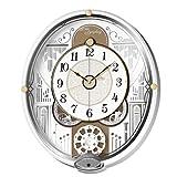 セイコー クロック 掛け時計 電波 アナログ からくり 6曲 メロディ 回転飾り 白 パール RE570W SEIKO