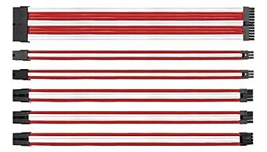 EASYDIY 電源専用 延長スリーブモジュラーケーブル+櫛 - 24PIN 8PIN 6PIN 4+4PIN-赤と白