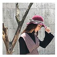 USPANDI 新しい女性の帽子の女性の大きな波のブリムウールフェルドの秋の冬の帽子 帽子 (色 : ワインレッド, サイズ : 56-58cm)