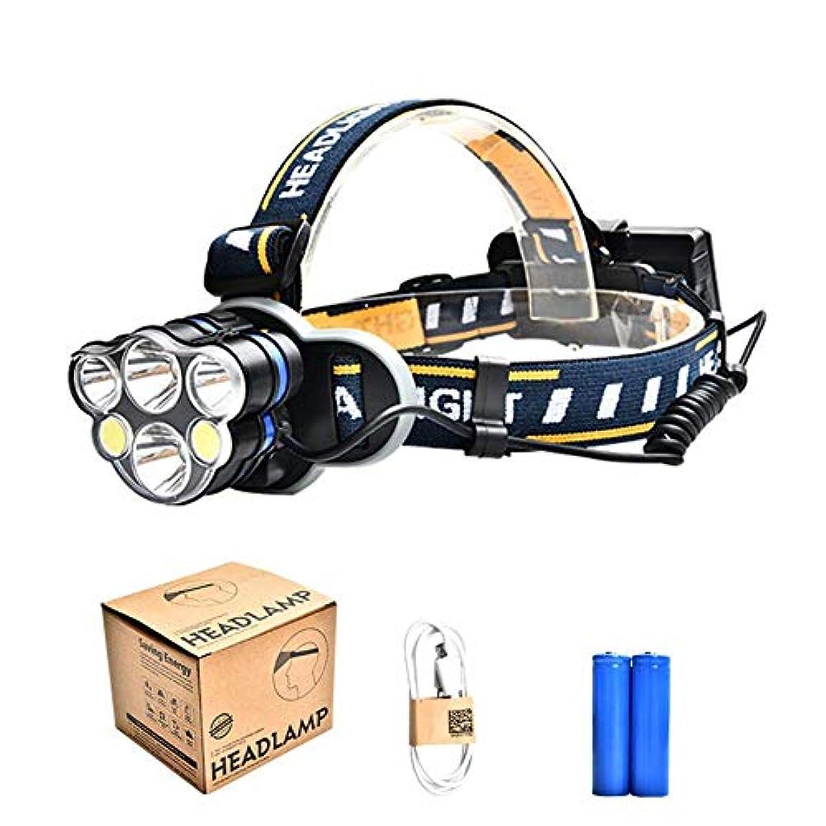 不器用キャッチベアリングLEDヘッドライト 充電式 ヘッドライト 釣り 対防水コーティング ヘッデン 高輝度LED 4点灯モード 作業灯 防災 登山 釣り ランニング 夜釣り キャンプ ヘルメットライト ランタン リチウムイオン蓄電池 2本付属