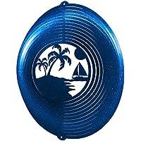 (Blue) - PALM TREE CIRCLE Swirly Metal Wind Spinner