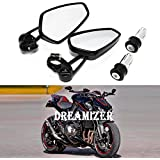 Dreamizer Motorcycle Bar End Mirrors, Motorcycle Rearview For Kawasaki Z1000 ER6N ER6F Yamaha MT01 MT03 FZ6 Suzuki GSF1250 GSF600 Ducati Monster M696