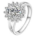 【ノーブランド品】指輪 リング ラインストーン 太陽の花 キラキラ 米国サイズ7 ファッション プレゼント