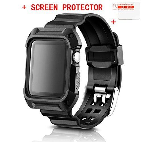 Apple Watchバンド、misxi Apple Watch 2保護ケースwithストラップ衝撃吸収プロテクターカバーケースfor iWatchシリーズ1&シリーズ2 MX-iWatchCaseBand-42