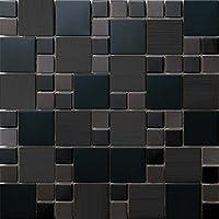 ステンレスモザイクタイル インテリア 23mm角48mm角MIX!メタルモザイクタイル 1シート(300*300mm)壁、浴室・カウンター キッチン・台所・洗面台 のDIYリフォームにお勧め(SA073) (11シート/m²(1ケース), SA073-21)