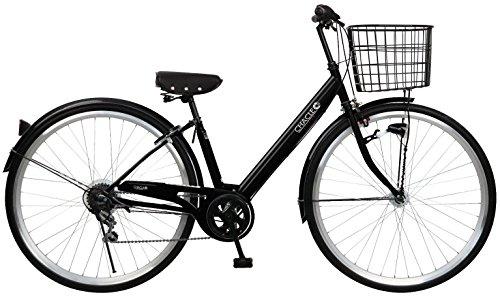 CHACLE(チャクル) 空気入れ不要! ノーパンク自転車 ファッション-V シティサイクル 27インチ 6段変速 8倍明るいLEDオートライト ブラック CHP-CCB276V-HD-BAA