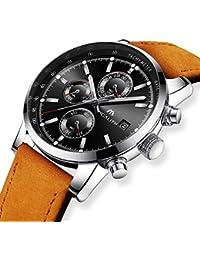 [メガリス]MEGALITH 腕時計 時計メンズ クロノグラフ防水ウオッチブラック 多針アナログクオーツ腕時計レザー 日付表示 ラグジュアリー おしゃれ ビジネス カジュアル 男性腕時計ブラウン