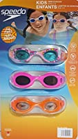 (Multi, Pink, Orange) - Speedo Kids Swim Goggles Triple Goggle Pack Fun Prints