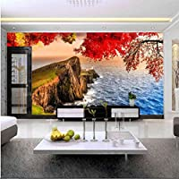 Mingld 美しい海岸の美しい桜さくら自然背景壁カスタム壁画緑のシルク生地の壁紙-280X200Cm