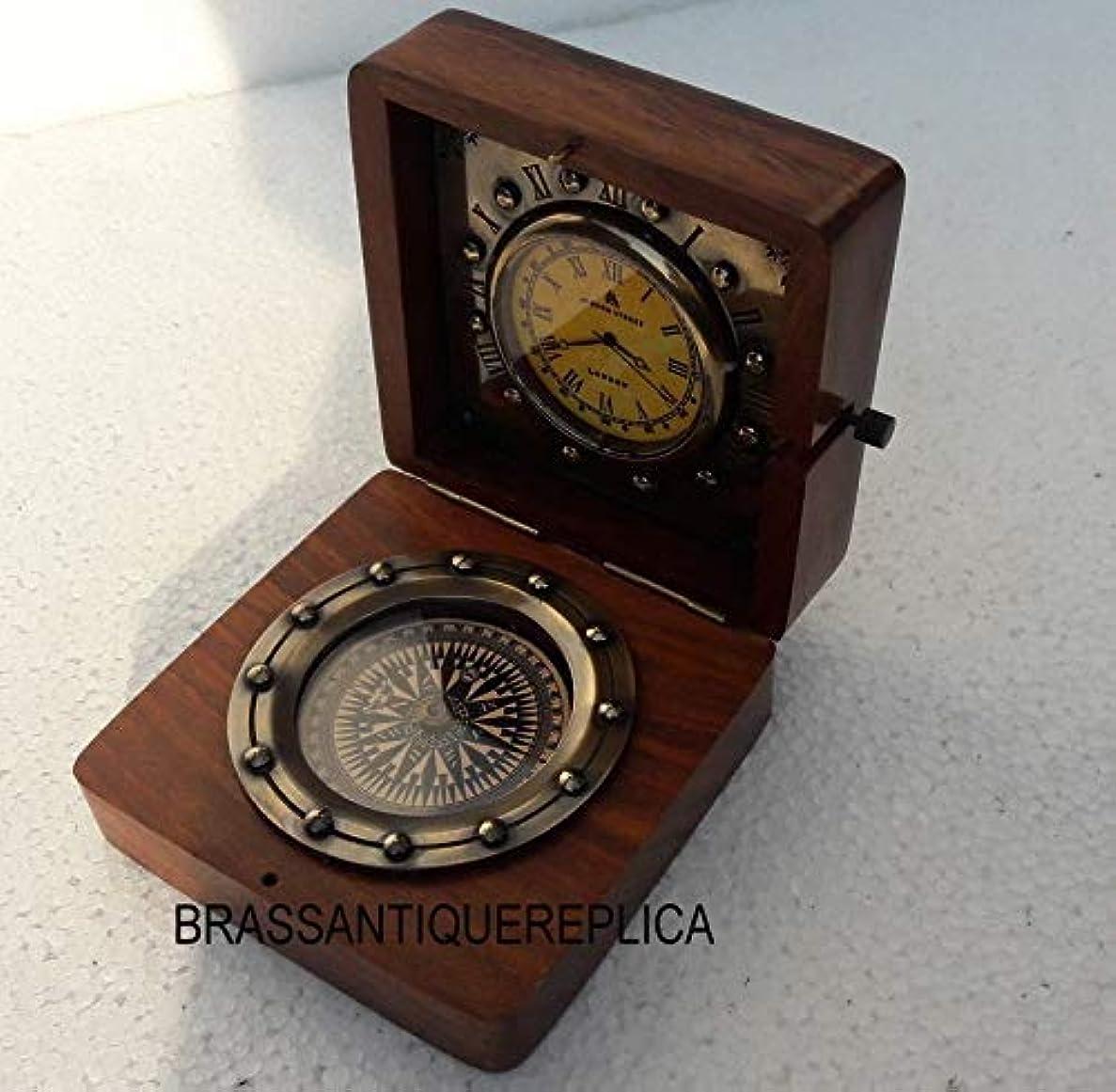 ポルノ適切に不適切なArnav アンティーク 航海海海 ナビゲーション真鍮時計 39ボンド ロンドンコンパス 木製ボックス付き