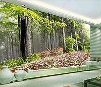 Bzbhart 3D壁画の壁紙絹と絹の森のワンダーランドの花とヘラジカの 壁の壁画の壁紙-120cmx100cm