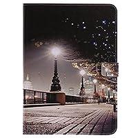 Asng iPad Air2 ケース iPad Air2 カバー 手帳型 PUレザーケース スタンド機能付き スマホカバー シンプル カード収納 耐衝撃 (都市の夜景)