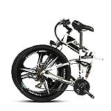 新モデル007 VTSP XF MTB 電動 自転車 アルミフレーム 折りたたみ マウンテンバイク 26インチ シマノ21段変速 メンズ レディース (白)