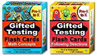 Gifted Testing Flash Cards (2-Pack) - Math and Following Directions for Pre-K - Kindergarten - Gifted and Talented Educational Toy Practise for CogAT, OLSAT, Iowa, SCAT, WISC, ERB, WPPSI and more