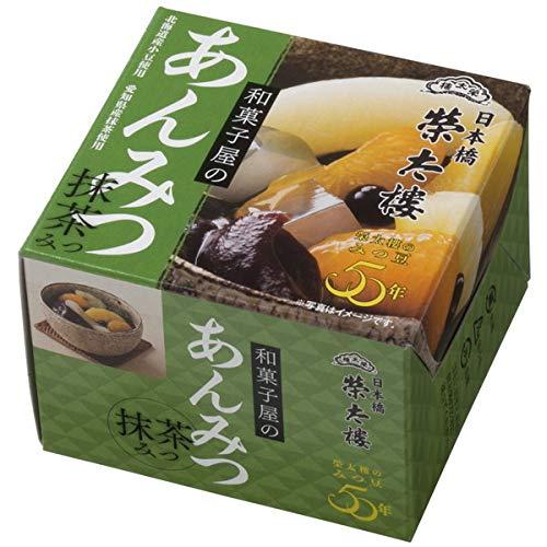 榮太樓 えいたろう 和菓子屋のあんみつ 抹茶みつ 缶 225g (6号) 1ボール(6缶入)