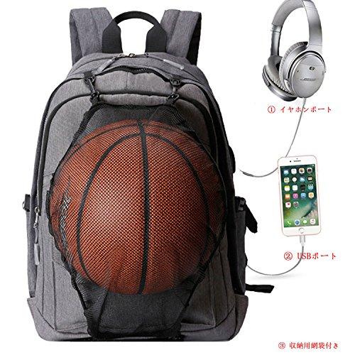 ThiKin リュック 着脱式 バスケットボールバッグ付属 USB線付き 15.6インチPCとタブレット収納可 防水 通勤 通学 運動 旅行 おしゃれ 大容量 ビジネスリュック グレー
