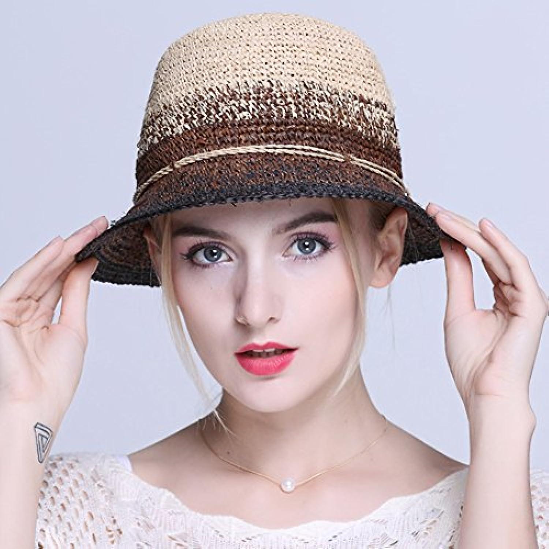 HONEY キャップ 女性のラフィーストローハット バイザーハット 日よけ帽 折り畳み式   調節可能な   フィッシャーマンハット (色 : カーキ)