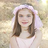 Princess Flower Tiara with Veil for Girls–ピンク–ヘアヘッドバンドコスチュームfor Young GirlドレスUp