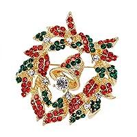 レディース ブローチ 花輪 サンタ ベル 雪だるま リース風 ブローチ フラワー クリスマス 人気 リボン ラインストーン 飾り コサージュ スカーフ キラキラ ゴールド ブローチピン エレガント オーナメント 贈り物 クリスマスプレゼント (I)