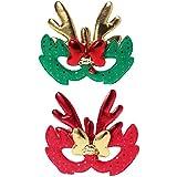 BESTOYARD 2PCSメリークリスマストナカイ眼鏡フレームクリスマスコスチューム子供のための大人アダルトコスプレパーティー(赤と緑)