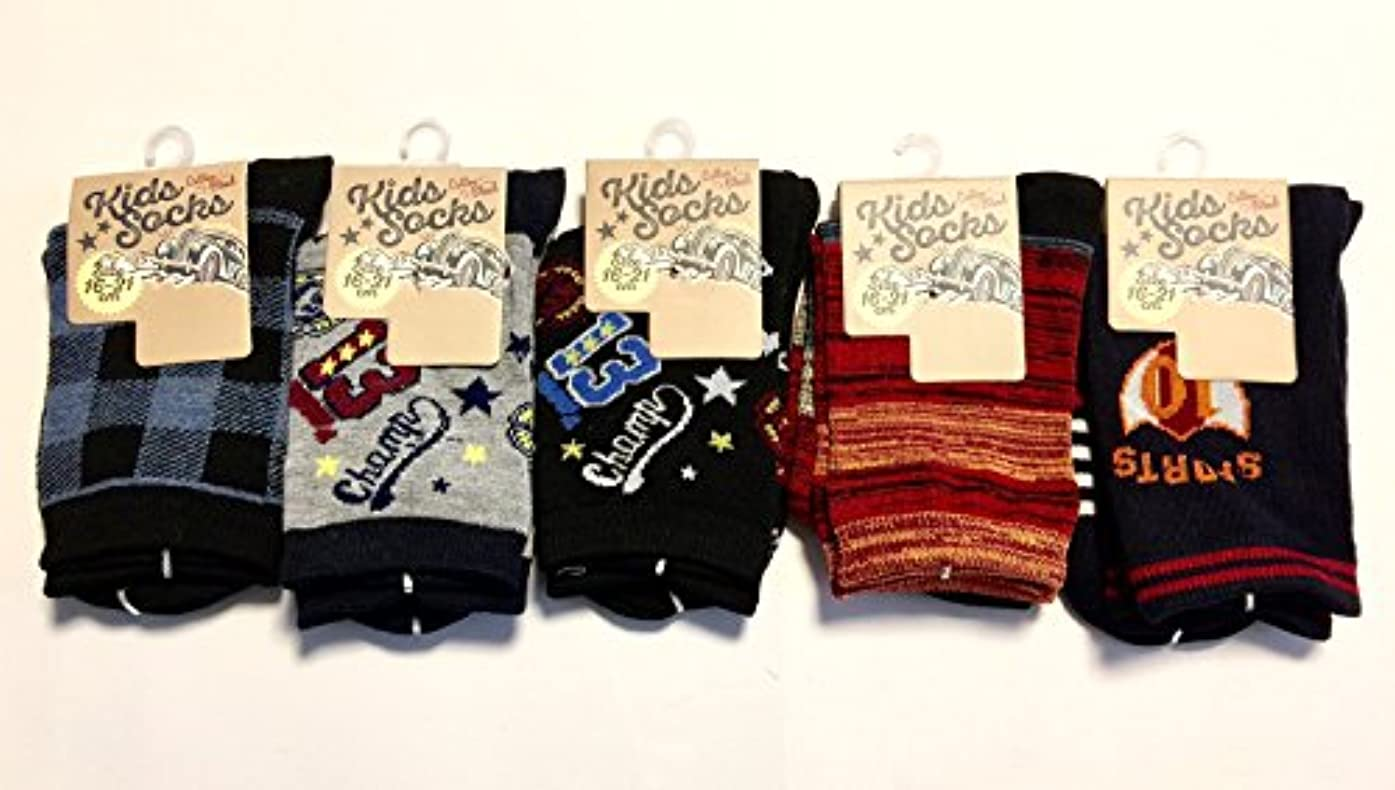 メーカーによってサリー靴下 キッズ 男の子 綿混 のびのび 柄ソックス 16-21cm お買得5足組(柄はお任せ)