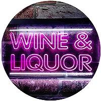 Wine & Liquor Bar Dual Color LED看板 ネオンプレート サイン 標識 白色 + 紫 300 x 210mm st6s32-i0405-wp