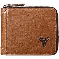 MING CLAN Zipper Wallet Men Leather Zip Around Wallet RFID Blocking ID Card Window Bifold with Coin Pocket