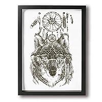 King Duck インディアン 狼 画 絵画 インテリア フレーム装飾画 アートポスター 壁画 アートパネル 壁掛け 木枠付き Black