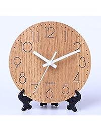 置き時計 木製 連続秒針 サイレント クロック 卓上時計 木彫り シンプル 静音