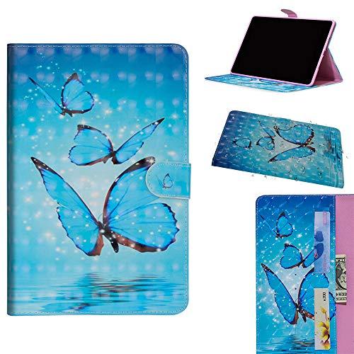 DodoBuy Samsung Galaxy Tab S4 10.5 ケース 3D 手帳型カバー 革 マグネット式ド収納 スタンド機能 財布型 カード収納 おしゃれ フリップ磁気閉鎖 ために Samsung Galaxy Tab S4 10.5 - 青い蝶