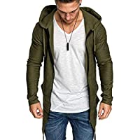 Nobrand Men's Long Cardigan Sweater Jacket Hooded Zipper Slim Open Front Long Section Pocket Men's Sweater Jacket