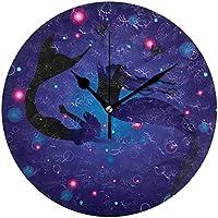 VAWA 掛け時計 置き時計 おしゃれ 北欧 時計 壁掛け 連続秒針 リビング 部屋装飾 贈り物 マーメイド 海 泡柄 ブルー