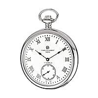 Stnlss Stl Open Faceホワイトダイヤルポケット時計by Charles Hubert Paris腕時計、最高品質フリーギフトボックス