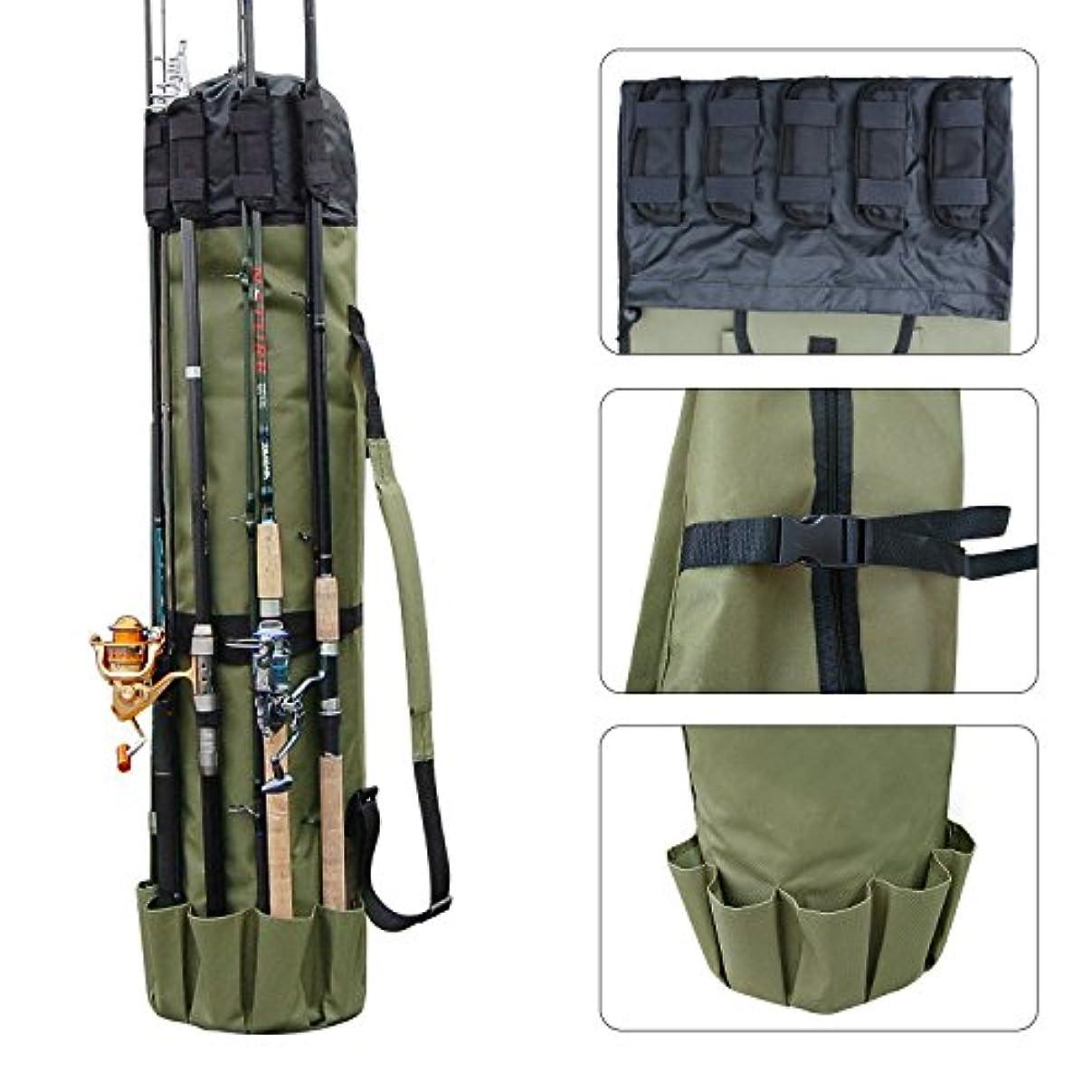 もっと道徳意欲多機能 布製 ロッドスタンド 5本ロッド挿入可 大容量 軽量 防水 釣り竿ケース 手提げ 肩掛け