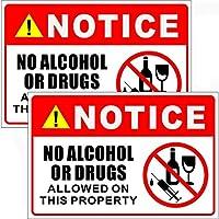 屋外/屋内 (2個パック) 9インチ x 6インチ - アルコールや薬品は不使用 - 注意注意注意注意警告サイン ビニールラベルステッカーデカール - 裏面粘着ビニール