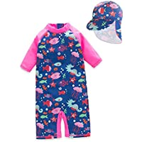 Dnggand Baby Girls One Piece Swimsuit Sunsuit Kids Rash Guards Bathing Suit UV Sun Protective UPF 50+
