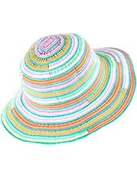 青空販売 レディース  虹色 ハット 折り畳み 通気 薄ち UV対策 紐付きで風が強い日でも安心