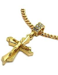 メンズ14 K Gold Toned Jesus Hang Onブレードクロスペンダントwith 3 mm 30
