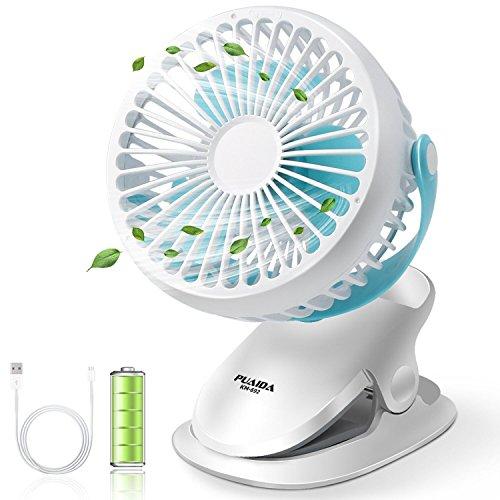 PUAIDA USB扇風機 卓上 静音 ミニ扇風機 充電クリップ式 usbファン 縦横360°回転 超強力送風 風量3段階調節