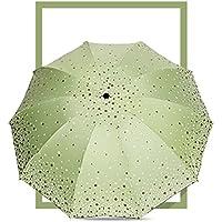 家庭の Sanzhe太陽の傘UV日傘晴れたベルベット折り畳み二重傘 傘・レインウェア ( 色 : 緑 )