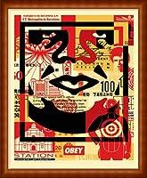 ポスター オベイ Obey Face 03 /手書きサイン入り 額装品 ウッドハイグレードフレーム(ナチュラル)