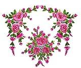 ふく福 高級感 薔薇 刺繍 アイロンアップリケワッペン 花 パッチ 刺繍 アクセサリー 服/帽子/バッグなど装飾用 女性DIY手芸用 縫製 素材-3枚 (ピンク)
