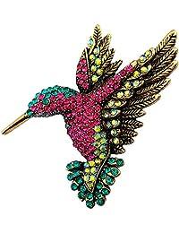 SELOVO Antique Gold Tone Bird Hummingbird Multi Color Austrian Crystal Pin Brooch