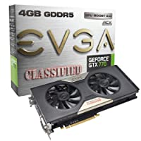 EVGA Nvidia GeForce GTX 770 4GB GDDR5 Classified with ACX Cooler Graphics Card (HDMI, DVI-I, DVI-D, Display Port, 256 Bit, 3D Vision Ready, SLI Ready)