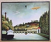 アンリ・ルソー ツェッペリン号とセーブル橋の眺め 1908 【ポスター+フレーム】約 41 x 51 cm ブラック